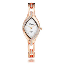 Rose Gold Silver Crystal Women's Wrist Watch Steel Bracelet Ladies Gift Box
