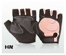 PINK PADDED PALM CYCLING LEATHER GLOVES BICYCLE CYCLE GYM GLOVE WORKOUT FITNESS