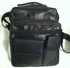 Paul Walter Leather Black Crossbody Bag Organizer Double Zippered Pockets