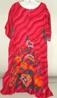 Vintage Womens Caftan Mumu House Dress One Size Plus SZ Floral Pockets 70s
