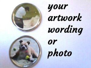 Personalised Photo Artwork Wording 25mm Golf Ball Marker Keepsake Memory Gift