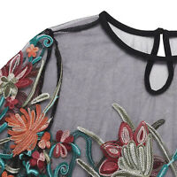 S-5XL O-neck Women T-Shirt Sleeve Mesh Blouse Floral Embroidered Tops Short