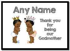 Baby Twin Black Boy & Girl Godmother Thank You  Personalised Placemat
