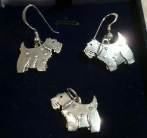 Chunky Solid Silver 925 Terrier Dog Animal Earrings AND Pendant Charm Set Boxed