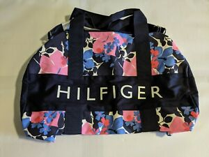 NEW TOMMY HILFIGER Floral Blue Pink White Gym Duffel Bag Medium Weekend Canvas