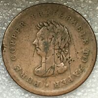 1838 NOVA SCOTIA CANADA ONE PENNY TRADE AND NAVIGATION TOKEN BRETON. 522142