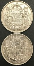 CANADA 50 cents 80% SILVER COINS - Lot of (2) (1943 & 1944) - King George VI 50c