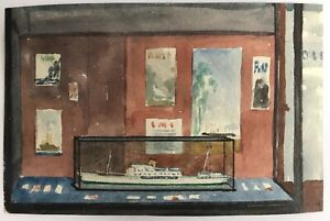 Small original watercolour painting boat in glass case Window in Perth 16.7.39