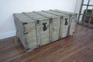 Large Wooden Blanket Box Chest - Trunk Coffee Table - Weathered Oak Style