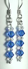 "Sterling Silver and Swarovski Crystal 23mm Drop Earrings Sapphire ""Blue"""