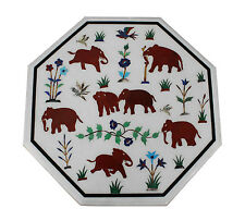 """18""""x18"""" Marble Console Table Top Jasper Elephant Inlay Marquetry Patio Art Decor"""