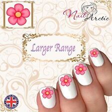 40 x Nail Art Water Transfers Stickers Wraps Decals Pretty Pink Flower
