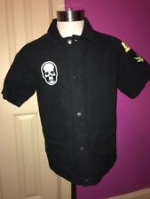 Lucien Pellat-Finet Mens Black Shirt Marijuana Buttons Patch Skull SIZE LARGE L