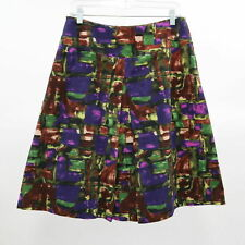 LaVia A-Line Skirt Womens US8 IT44 Green Purple Brown Pattern Cotton Stretch
