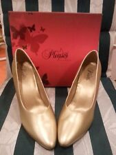 "Men's size 14 UNISEX wmn's 16. Pleaser USA GOLD 4"" pumps DRE420W/G Dream-420"