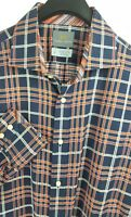 THOMAS DEAN Mens Blue Orange Plaid LS Flip Cuff Button-Down Shirt Large L