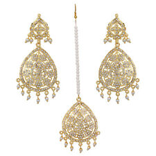 Jwellmart Indian Wedding Gold Plated White CZ Jadau Style Earring Tika Set