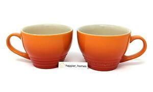 LE CREUSET (Set of 2) Giant FLAME Orange Cappuccino Cup 14 oz (400ml) Bistro Mug