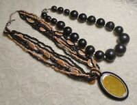 VINTAGE TO NOW ASSORTED BROWN & BLACK WOOD & LUCITE BEADED BOHO NECKLACE LOT