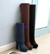 Women's Round Toe Platform Block High Heel Over The Knee Boot Casual Faux  Suede