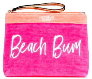 Victoria's Secret BEACH BUM TERRY BIKINI COSMETIC Wristlet CASE Pink/Orange $29