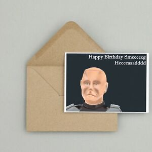 Recycled Hand Made Card Red Dwarf Inspired Birthday Card Funny/Humour