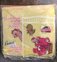 "Vintage Baby Blanket Beaver Canada Yellow Satin Trim 36"" x 50"" NEW"