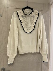 River Island Cream Frill Jumper Top Size 18