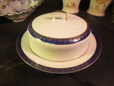 MZ Austria Altrouhlau Covered Round Butter Carlsbad Czechoslovakia Blue & White