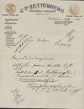 CARLSKRONA, 2x letter 1903, Tapetserare & Dekoratör C. F. Zetterberg