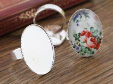 Plaqué Argent Réglable Ring Blanks | 18x25mm Cabochon Setting | 10pcs