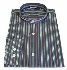 Relco Grey/Green Striped Grandad Collar Long Sleeved Vintage/Retro Mod Shirt