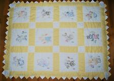 Vtg Handmade Baby Blanket Quilt Yellow Cross Stitch Embroidery Bunny Squares