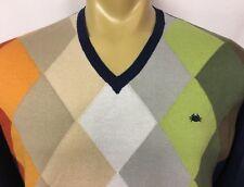 IL GRANCHIO Men's V-Neck Multi-Color Cotton Blend Sweater ~ Euro Sz 5 (Large)
