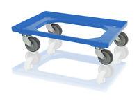 Eurobox Roller blau 600 x 400 mit Gummirädern *Transportwagen*Kistenwagen*