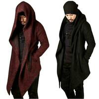 Men's Korean Punk Long Cape Cloak Fashion Wool Top Hooded Jacket Coat Outwear #