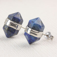 Lapis Lazuli Faceted Gemstone Healing Chakra Bead Prism Stud Earrings Findings