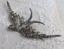 Edwardian 20's Large Paste Silver Swallow Brooch