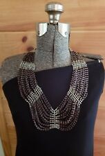 vintage trade bead necklace white clear purple seed bead runway