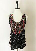 Tiny Anthropologie Embroidered Tank Top Womens Sz XS Aztec Geometric Black Polka