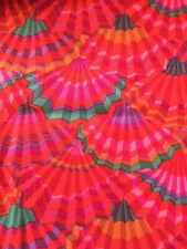 KAFFE Fassett Fabric Paper Fans Red GP57 Red With Teal And Purple Rare
