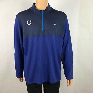 Indianapolis Colts Nike Tour Performance Dri Fit 1/4 Zip Sweater Mens XL Blue