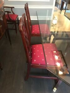 Authentic 6 CRAFTIQUE Mahogany Hand Made Chippendale Style Chairs Bee Cushions