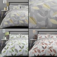 Tazio Leaves Duvet Quilt Cover Bedding Set - Grey, Orange, Green
