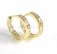 fashion1uk CZ Cubic Crystal 14K Gold Plated Unisex Huggie Hoop Earrings 17mm 3mm