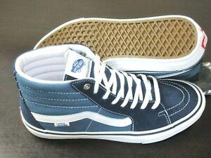 Vans Men's Sk8-Hi Pro Navy Stv White Canvas Suede Hi Top Skate shoes Size 9 NWT
