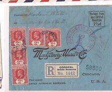 British Honduras 1913 KE 2c x 5 on Registered cover from Corozal (bal)