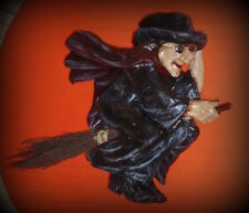 """VINTAGE PAPER MACHE HALLOWEEN WITCH ON BROOMSTICK - 17""""X15""""X6"""" VERY RARE"""