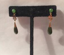 antique Japan carved TRANSLUCENT GREEN jade jadeite & 925 TEAR-DROP earrings SET