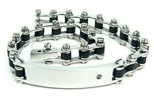 Hypoallergenic ID Bracelet Jeweled 316L Surgical Steel Black Rubber Motorcycle
